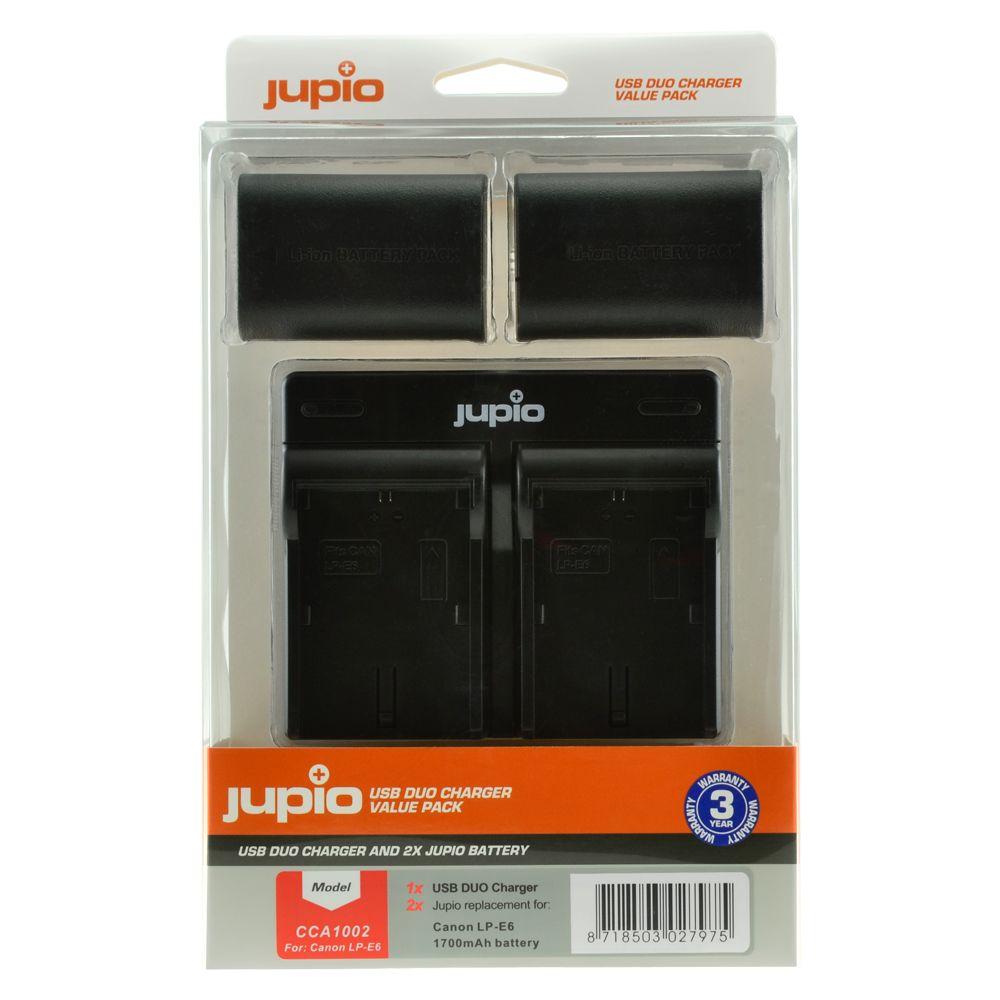 Canon LP-E6 1700mAh utángyártott fényképezőgép akkumulátor és USB Dual Charger Kit a Jupiotól