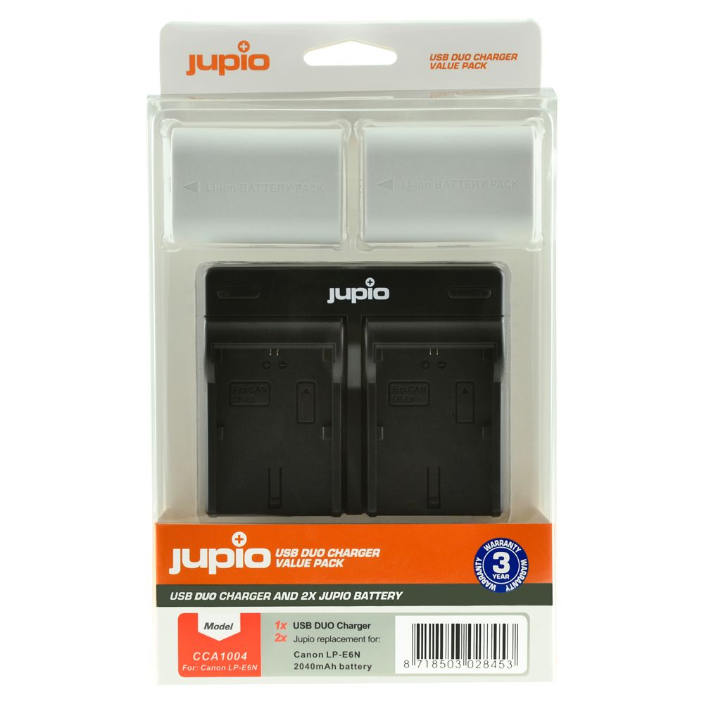 Canon LP-E6N *ULTRA* 2040mAh utángyártott fényképezőgép akkumulátor és USB Dual Charger Kit a Jupiotól