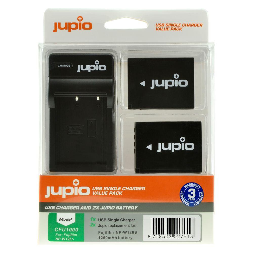 Fujifilm NP-W126 utángyártott fényképezőgép akkumulátor és USB Single Charger Kit a Jupiotól