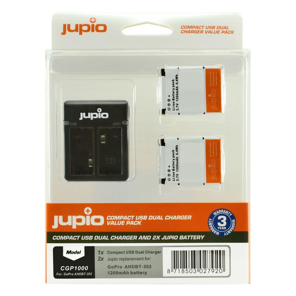 GoPro AHDBT-302 HERO3+ 1200mAh utángyártott akciókamera akkumulátor és Compact USB Dual Charger Kit a Jupiotól