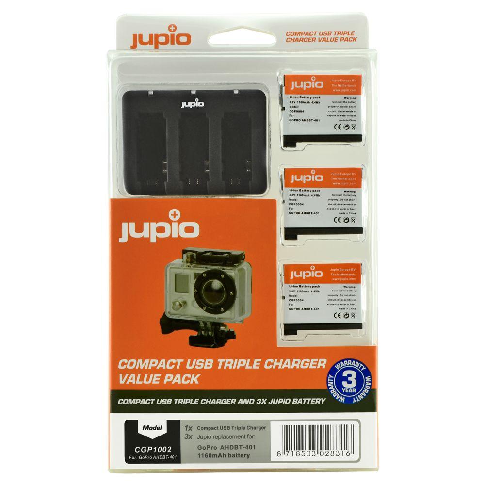 GoPro AHDBT-401 HERO4 1160mAh utángyártott akciókamera akkumulátor és Compact USB Triple Charger Kit a Jupiotól