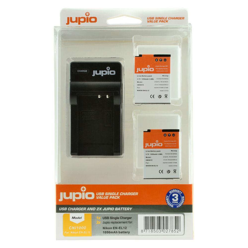 Nikon EN-EL12 utángyártott fényképezőgép akkumulátor és USB Single Charger Kit a Jupiotól