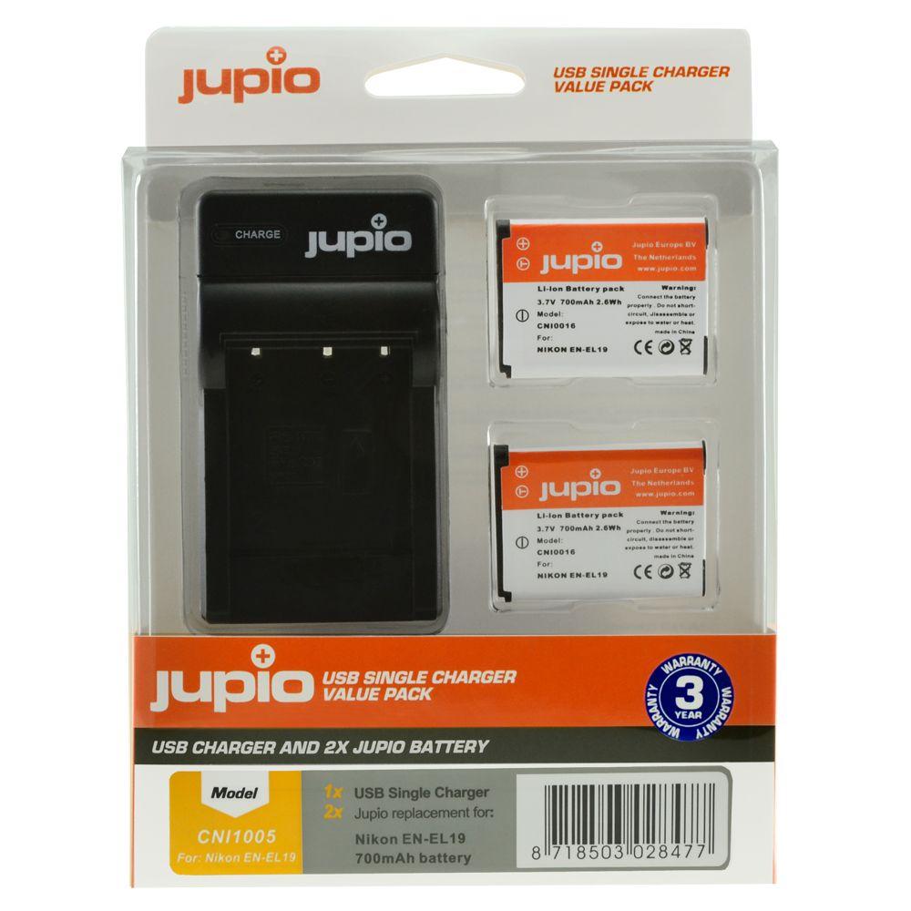 Nikon EN-EL19 utángyártott fényképezőgép akkumulátor és USB Single Charger Kit a Jupiotól
