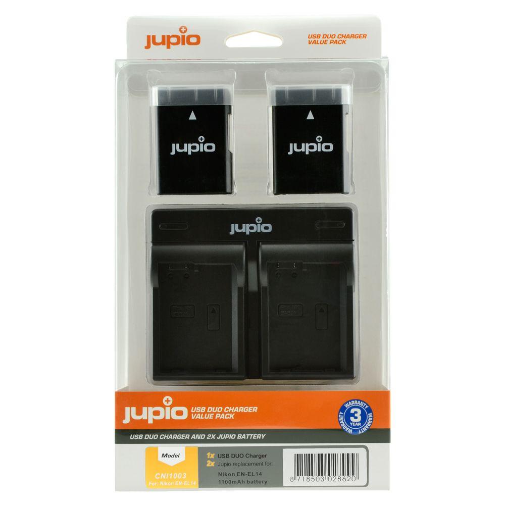 Nikon EN-EL14/EN-EL14A 1100mAh utángyártott fényképezőgép akkumulátor és USB Dual Charger Kit a Jupiotól