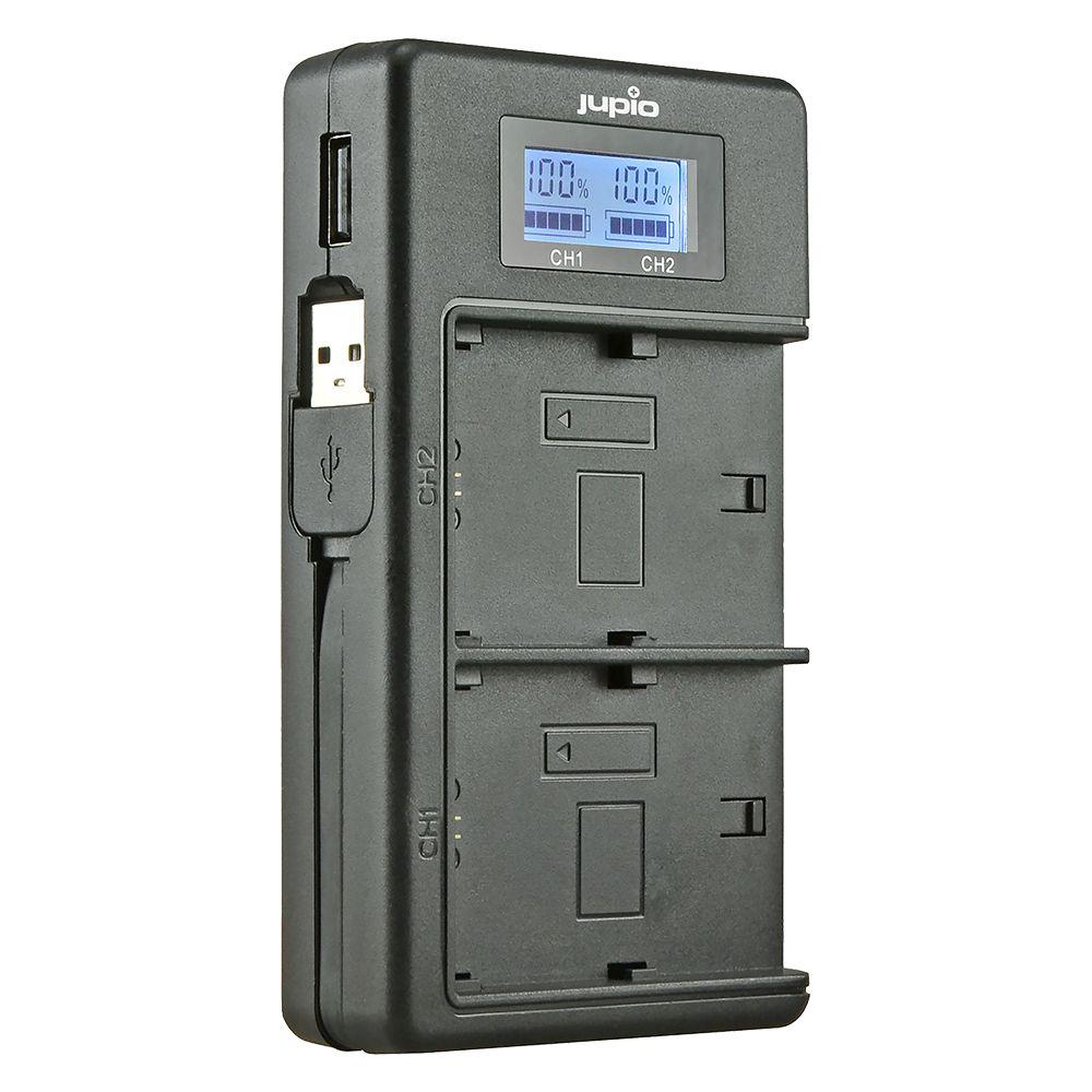 Jupio USB duo töltő LCD kijelzővel Fuji NP-W126 akkumulátorokhoz